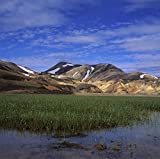 Iceland - Wetlands in front of a mountain range 30x40 photo reprint