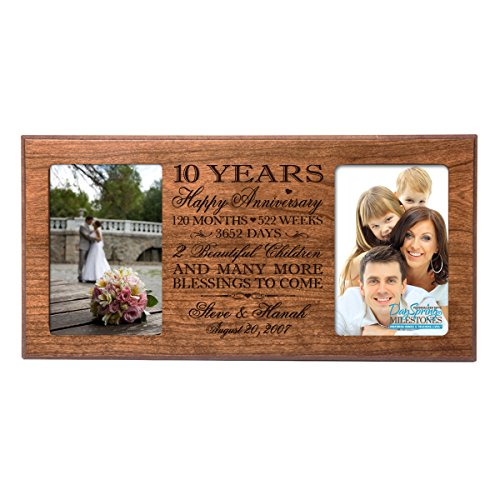 Personalized ten year anniversary gift her him couple Custom Engraved wedding celebration for Husband wife girlfriend boyfriend photo frame holds two 4x6 photos by DaySpring International (Cherry)