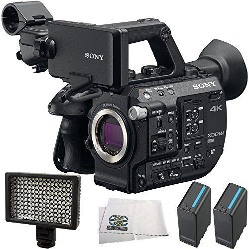 Sony PXW-FS5 XDCAM Super 35 Camera System 4PC Accessory Bundle. Includes 2 Replacement BPU90 Batteries + 160 LED Video Light + Microfiber Cleaning Cloth by SSE