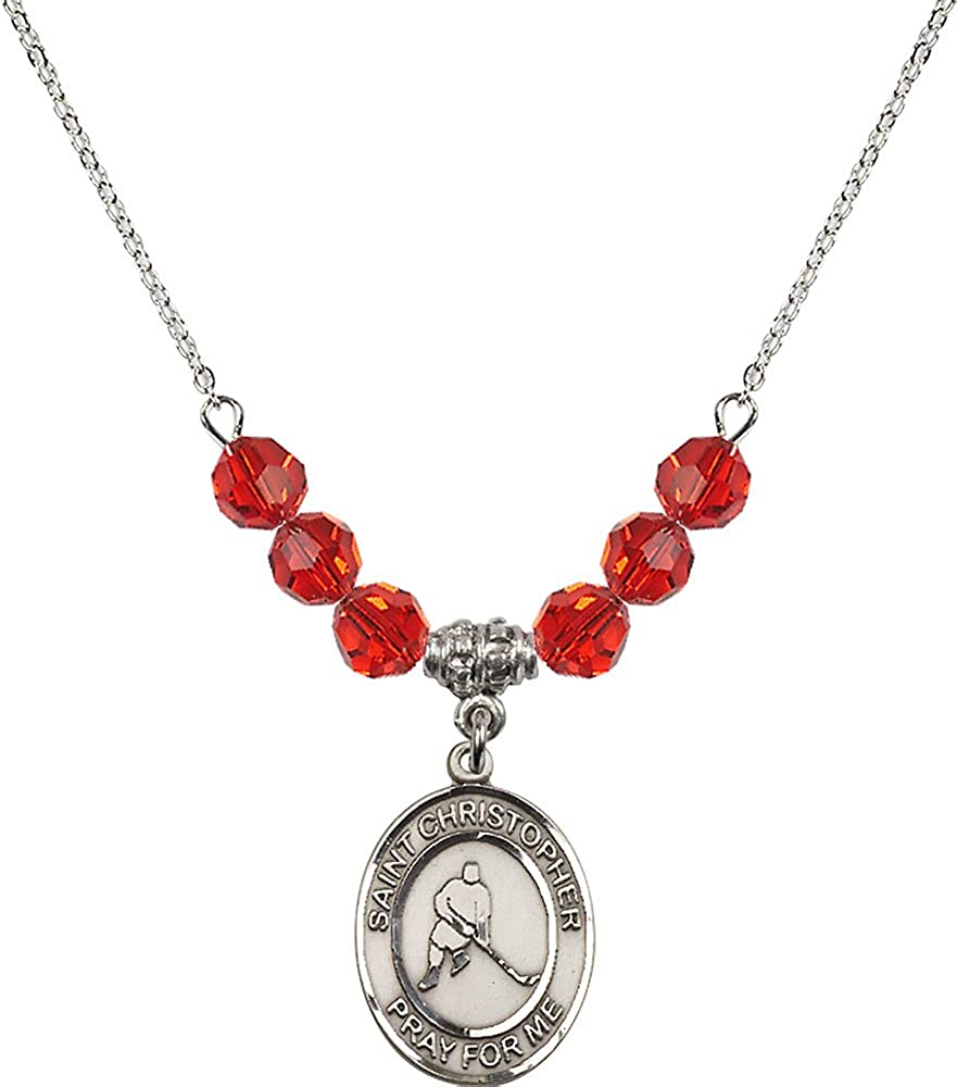 18-Inch Rhodium Plated Necklace with 6mm Ruby Birthstone Beads and Sterling Silver Saint Christopher//Ice Hockey Charm.