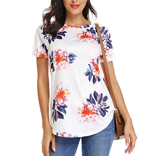INWECH Women's Paisley Printed Short Sleeve Casual Tunic Tops Loose Blouse Shirts (X-Large, White -
