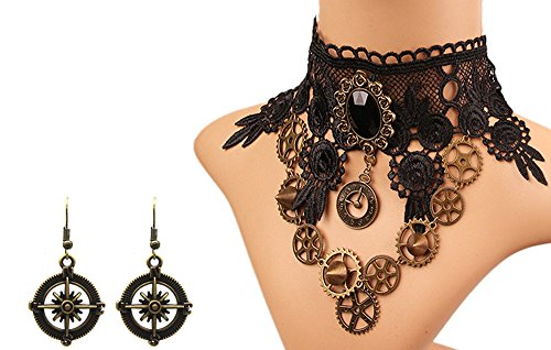 MEiySH Black Lace Gothic Lolita Pendant Choker Necklace Earrings Set (Necklace Earrings Set 006)