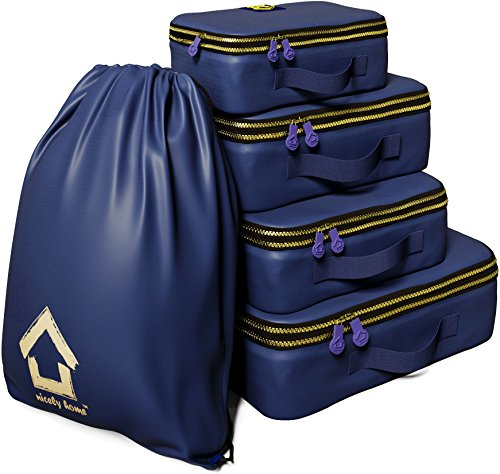 Compression Packing Cubes Set With Double Zipper And Water Resistant (Zipper Double Organizer)