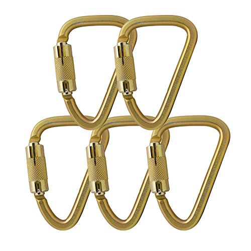 Fusion Climb Aztec Steel High Strength Pear Shape Auto Lock Carabiner 5-Pack by Fusion Climb