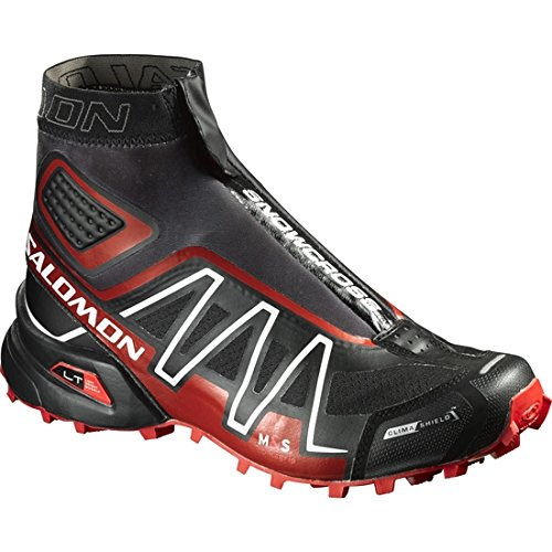 Salomon Snowcross CS Trail Running Shoe Black/Radiant Red/White, 11.0 - - Weather Shoes Cold Running
