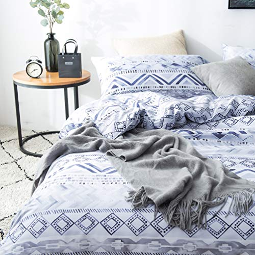 SLUMBERTOWN 100% Egyptian Cotton Sateen Weave 3 Piece Duvet Cover Set - Silky Soft Luxurious Breathable White Gray Blue Aztec Geometric Watercolor Style Comforter Cover Set - King