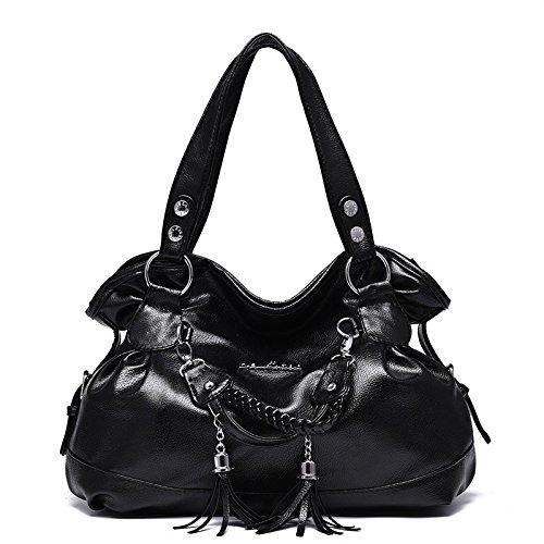 Bolso de hombro simple del bolso de cuero de la manera del saco de la manera de las mujeres, bolso de la capacidad grande con la manija doble Black