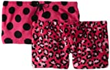 Sweet Junior's 2 Plush Shorts Leopard and Dot, Hot Pink, Medium