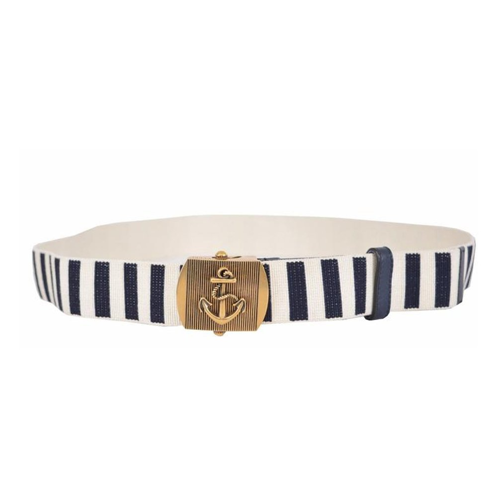 Gucci Brass Anchor Buckle Stripped Canvas Belt 375191