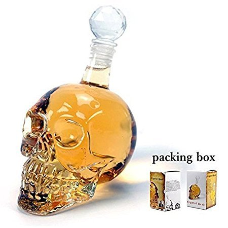 Qinmay Crystal Skull Head Vodka Bottle Creative Gothic Wine Vodka Decanter (Transparence, 350ML)