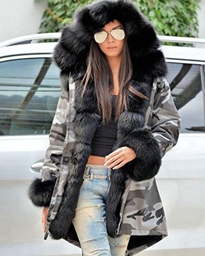 mujer con Parka negro Roiii capucha larga para gris txgwPq6