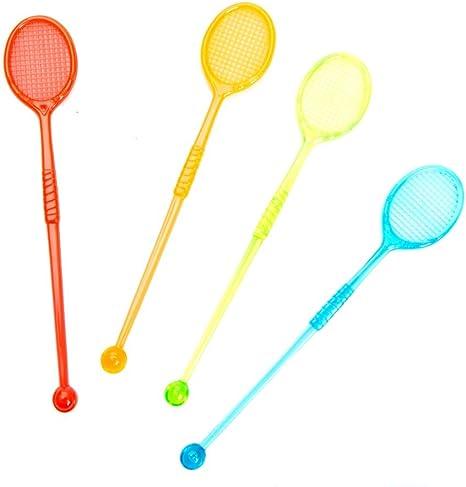 Multi Color Party Swizzles 100 Tikizone Tennis Racquet Cocktail Stirrers
