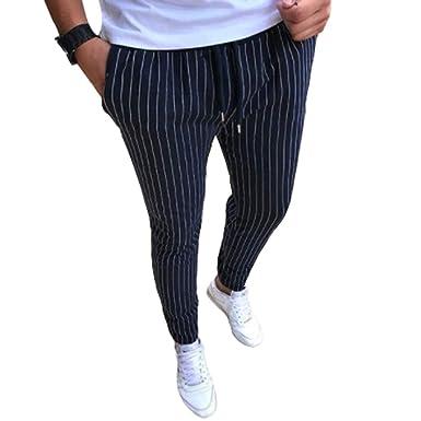 b7efe6bed27e5 Pantalons pour Hommes À Rayures Automne Hiver Pantalons Slim Fit Pantalons  Skinny Confortables Loisirs Casual Jogger Poches Pantalons De Survêtement  M-5XL  ...