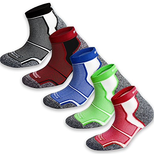 5 Pack More Mile New York Cushioned Coolmax Sports Running Socks...