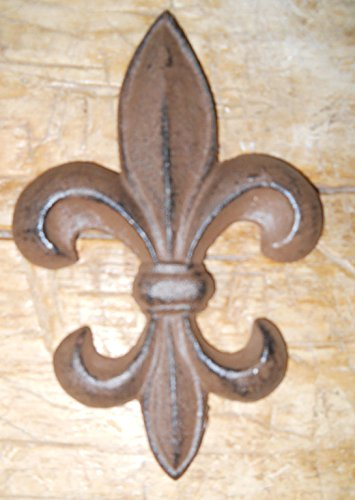 New 5 Cast Iron by YourLuckyDecor Antique Style Rustic Fleur De Lis Wall Decor BROWN Finish 7 INCH 7 Inch Fleur De Lis