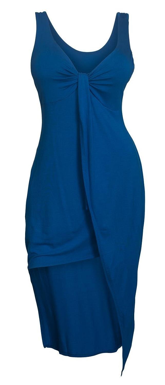 eVogues Plus size Asymmetric Hemline Sleeveless Dress Royal Blue
