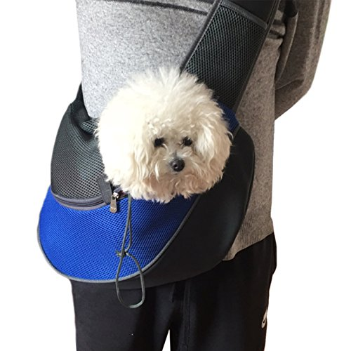 Go Pet Sling Carrier (Alfie Pet by Petoga Couture - Ashton Pet Sling Carrier with Adjustable Strap - Color Blue, Size: Medium)