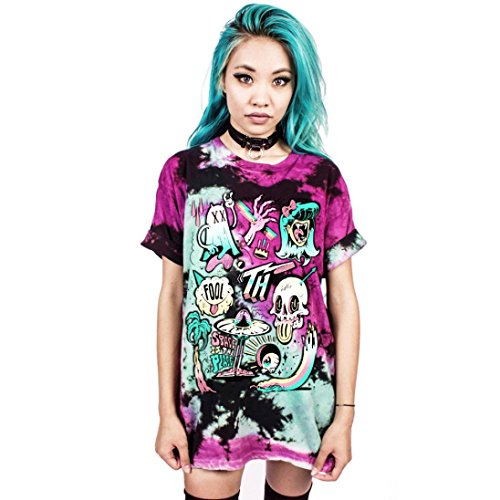 YANG-YI Men Women Cute Festival Halloween Print Blouse Punk Rock T-Shirt (S/M, - Retro Festival