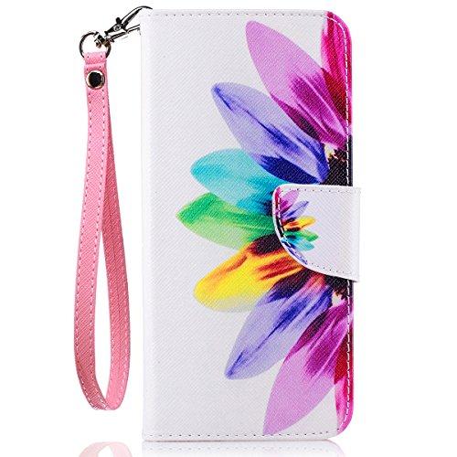 Galaxy S8 Plus Case, S8 Plus Wallet Case, JanCalm [Wrist Strap][Kickstand][Card/Cash Slots] Pattern Premium PU Leather Phone Cases Flip Cover for Galaxy S8 Plus + Pen (Rainbow Flower)