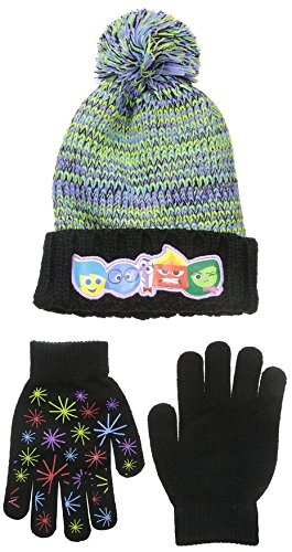Disney Big Girls Inside Out Hat Acrylic Chunky Knit Winter Cuffed Beanie Pom Hat and Matching Gripper Glove Set, Multi, One (Disney 2 Piece Gloves)