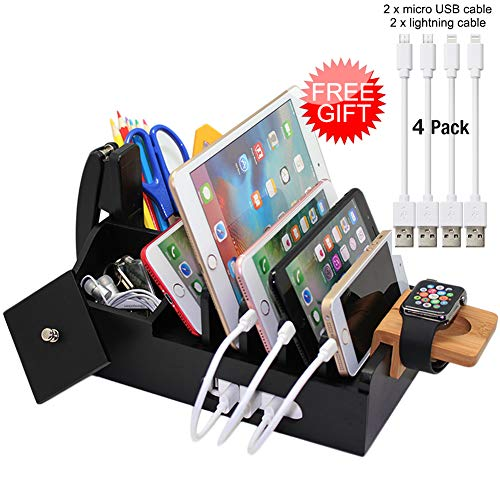 Black Bamboo Charging Station for Multiple Devices, Docking Organizer Holder for Cell Phone,Tablet and Watch(Include Watch Stand), Desktop Wood Storage Box, (Without USB Charger) - Pezin & Hulin