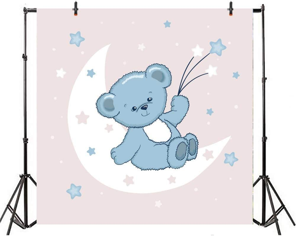 10x10ft Cartoon Cute Grey Bear Backdrop Vinyl Cute Bear Holding Stars Leaning On The White Moon Shiny Starry Sky Illustration Photography Background Boy Baby Shower Party Banner Boy Portrait