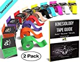 Physix Gear Sport Kinesiology Tape - Free Illustrated E-Guide - 5cm x 5m Uncut Roll - Best Pain Relief Adhesive for Muscles, Shin Splints Knee & Shoulder - 24/7 Waterproof Therapeutic Aid (2PK BLU)
