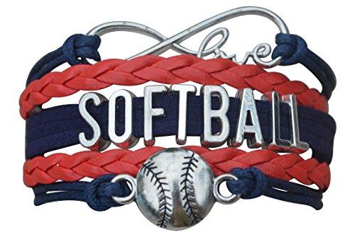 Softball Charm Bracelet- Infinity Love Adjustable Softball Jewelry in Team Colors for Softball Players