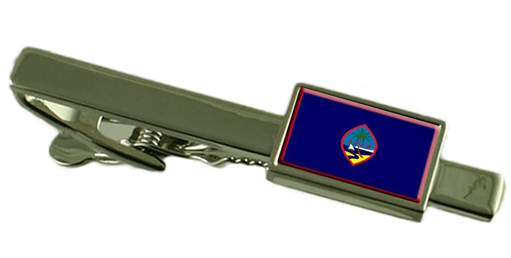 Guam Flag Tie Clip Bar 55mm Keepsake Engraved Personalized Case