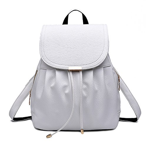 Pu Leather Ladies Fashion Bag Leisure Travel Shoulder Bag Beige Shopping Woman