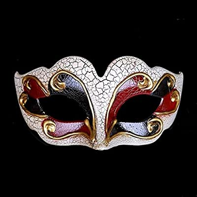 Masks Upper Crack Half Face Masquerade Mask Halloween Theme Party Cosplay Mask Dance Makeup Props Red: Clothing