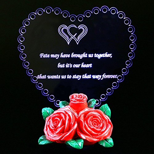HOMEMAXS Mother Present Heart Shaped LED Light with Letters on Rose Flower Base Romantic Anniversary for Lover Wedding Party Home Decoration (Light Heart Mothers)