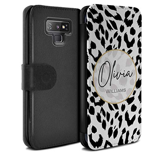 Personalized Custom Fashion Animal Print Pattern PU Leather Case for Samsung Galaxy Note 9/N960 / Snow Leopard Design/Initial/Name/Text DIY Wallet/Cover