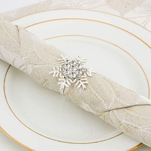 Snowflake Napkin Rings (ANPHSIN Set of 8 Napkin Rings Dinning Table Setting for Casual or Formal Occasions- Snowflake)