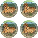 Set of Four Golden Retriever Ambiance Coasters - Style vpa2