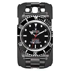 Rolex Watch Pattern Back Cover For Samsung Galaxy S3 3D Hard Plastic Case