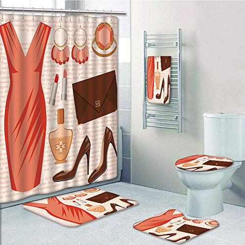 Bathroom 5 Piece Set Shower Curtain 3D Print Customized,Heels and Dresses,Accessories Fashion Cocktail Dress Lipstick Earrings High Heels Decorative,Salmon Brown Peach,Graph Customization
