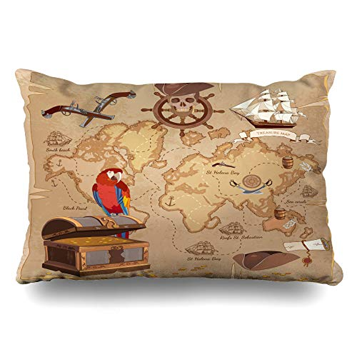 Ahawoso Throw Pillow Cover 14x24 Roger Adventure Old Pirate Treasure Map Chest Parchment Parks Vintage Anchor Ancient Scroll Antique Cushion Case Home Decor Pillowcase ()