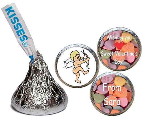 Valentine's Day Stickers for the Bottom of Chocolate Kisses, Personalized (Set of -