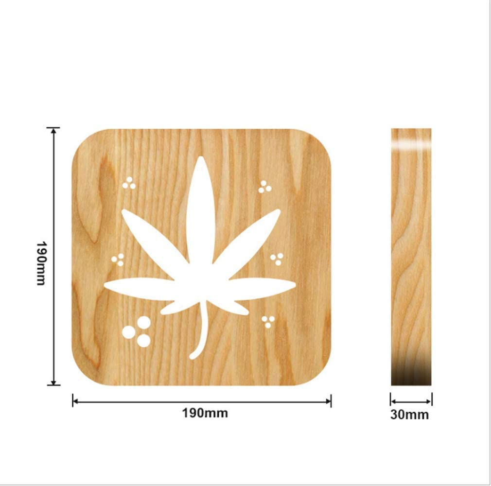Hoja de cannabis Lámpara de noche de madera maciza Lámpara de noche de talla hueca-hacia afuera Lámpara de madera LED