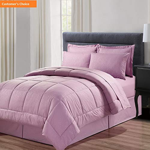 Mikash New Soft 8 Piece Bag with Dobby Stripe Comforter, Sheet, Bed Skirt, and Sham Set, King, Vine Lavender, 8 Piece | Style 84597875