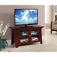 Kings Brand Furniture TV Stand Storage Console with Glass Doors, Cherry Finish