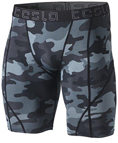TM-MUS17-MDG_Medium Tesla Mens Compression Shorts Baselayer Cool Dry Sports Tights