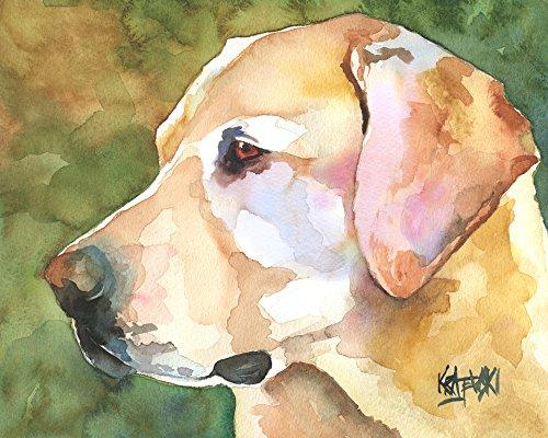 Yellow Labrador Retriever Dog Fine Art Print on 100% Cotton Watercolor ()