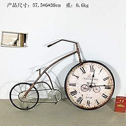XOBULLO Iron Clock Retro Bicycle Statue Clocks Three-Dimensio Nal Cartoon Wall Decoration Sculpture Crafts
