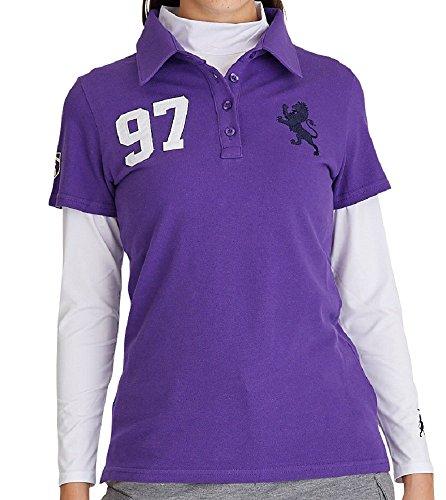 舗装くるみリフレッシュ7227 LL パープル 97番ポロシャツ デルソル ゴルフウェア レディース 大きいサイズ