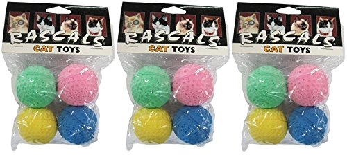 Coastal Pet 1.5″ Sponge Ball Cat Toy Multi-Colors | 4-Count per Pack | 3-Packs