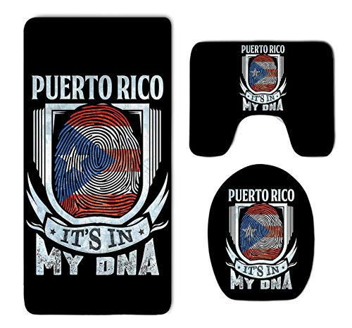 Beach Surfer Puerto Rico It is in My DNA Puerto Rican Flag 3 Piece Bathroom Mat Set Pedestal Mat+Lid Toilet Cover+Bath Mat Doormat Non-Slip Carpet Rug