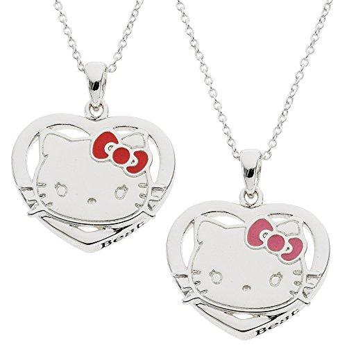 Hello Kitty Girls Silver Plated Best Friends Forever Breakaway Pendants Set, 18