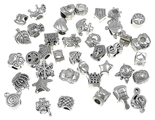 40pcs Antique Silver Assorted Big Hole Spacer Bead Charm Pendant Connector for Necklace Bracelet Anklet DIY Crafting Accessories By Alimitopia
